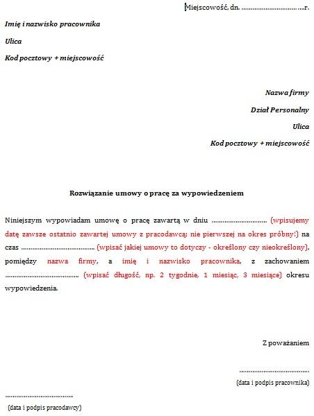 Wypowiedzenie Umowy O Pracę Przez Pracownika Wzór Wypowiedzenie